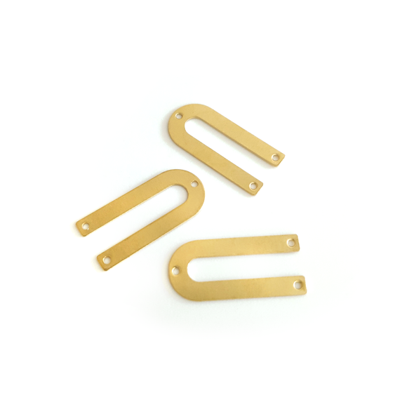 U Shape 10-Piece Raw Brass Charm (3 Holes)