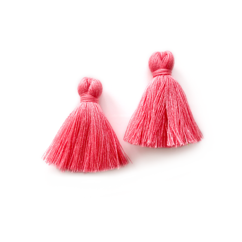 40mm Cotton Tassels - 1 pair (Coral)