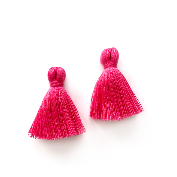 40mm Cotton Tassels - 1 pair (Magenta)