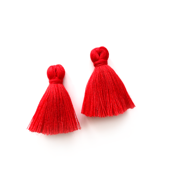 40mm Cotton Tassels - 1 pair (Rouge)