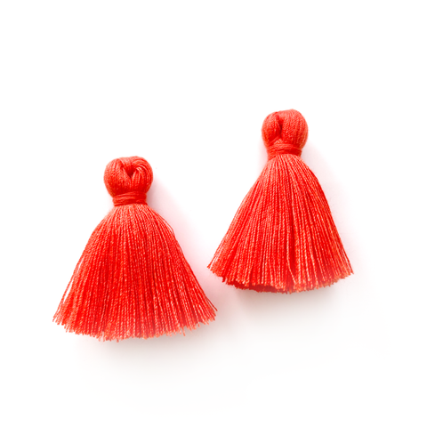 40mm Cotton Tassels - 1 pair (Grapefruit)