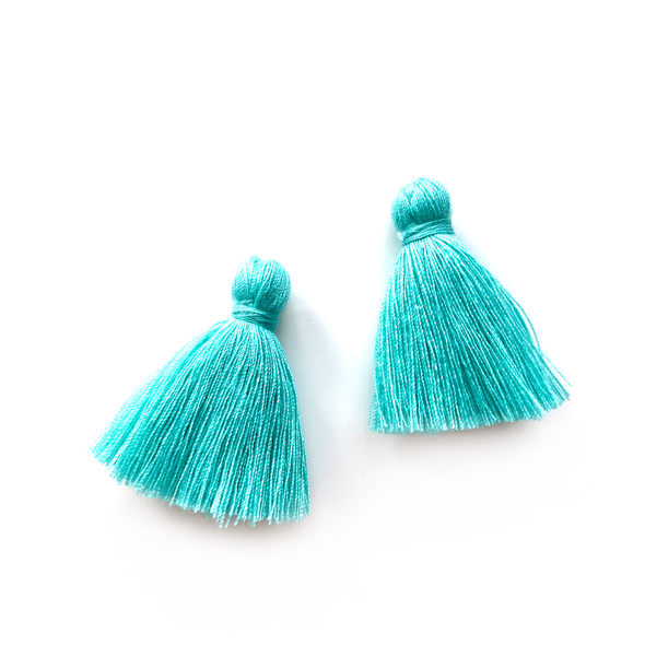 40mm Cotton Tassels - 1 pair (Turquoise)