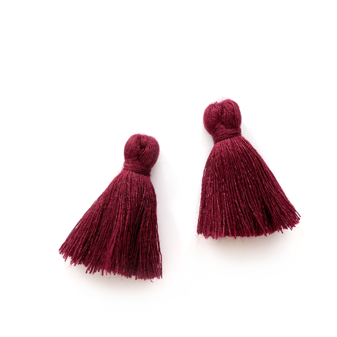 40mm Cotton Tassels - 1 pair (Crimson)
