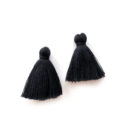 40mm Cotton Tassels - 1 pair (Black)