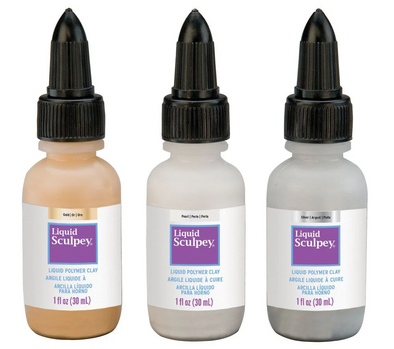 Sculpey Liquid Polymer Clay Multipack - Metallics: Pearl/Gold/Silver (3pcs of 30ml)