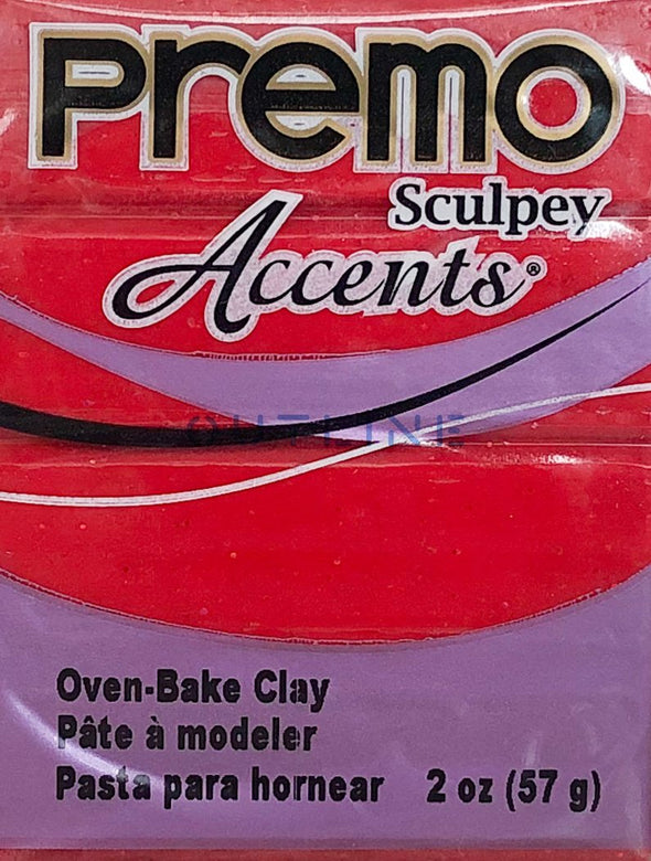 Premo 57g Polymer Clay - Accents Red Glitter