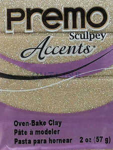 Premo 57g Polymer Clay - Accents Yellow Gold Glitter