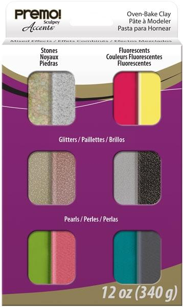 Premo Polymer Clay Multipack - Accents Mixed Effects (12pcs)
