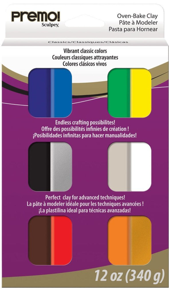 Premo Polymer Clay Multipack - Classic Colours (12 pcs)