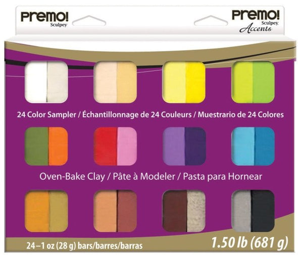Premo Polymer Clay Multipack - Classic and Accents Mixed Effects (24pcs)