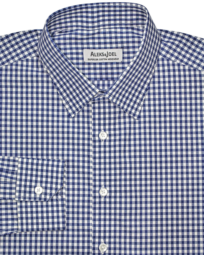 Dark Blue with Blue Small Gingham Check Poplin Shirt