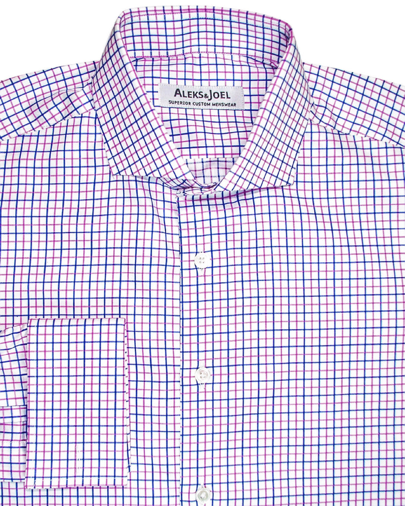 Graph Check Pink & Blue Poplin Shirt