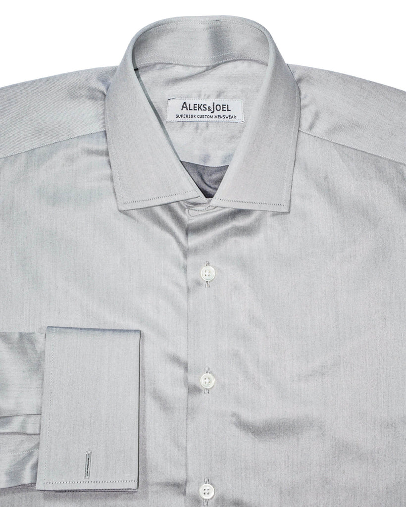 Grey Solid Poplin Shirt