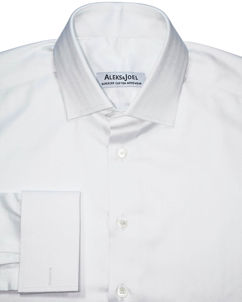 White Solid Herringbone Shirt