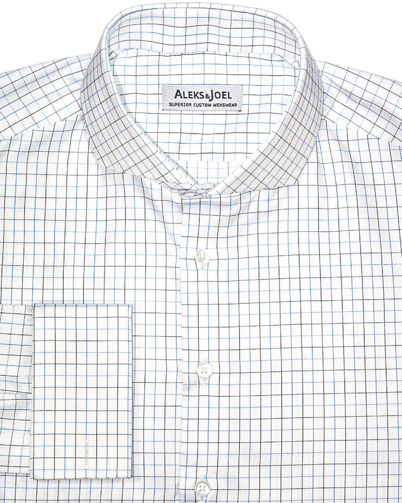 White with Blue & Black Graph Check Shirt