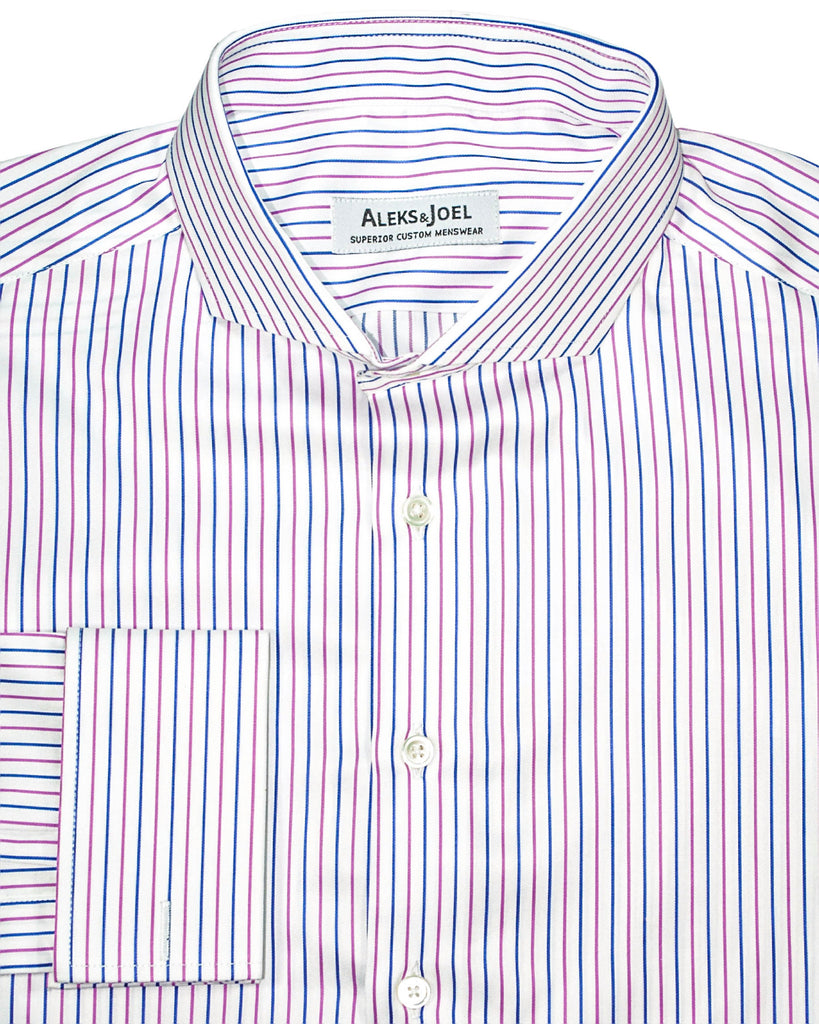 White with Pink & Blue Stripe Poplin Shirt