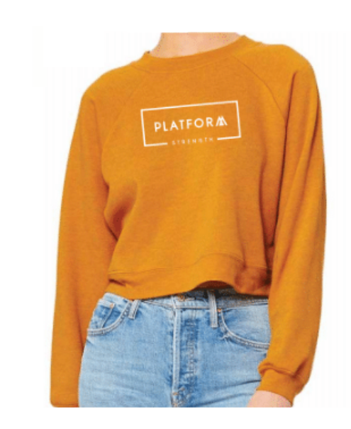 Platform Strength Cropped Sweatshirt - Mustard