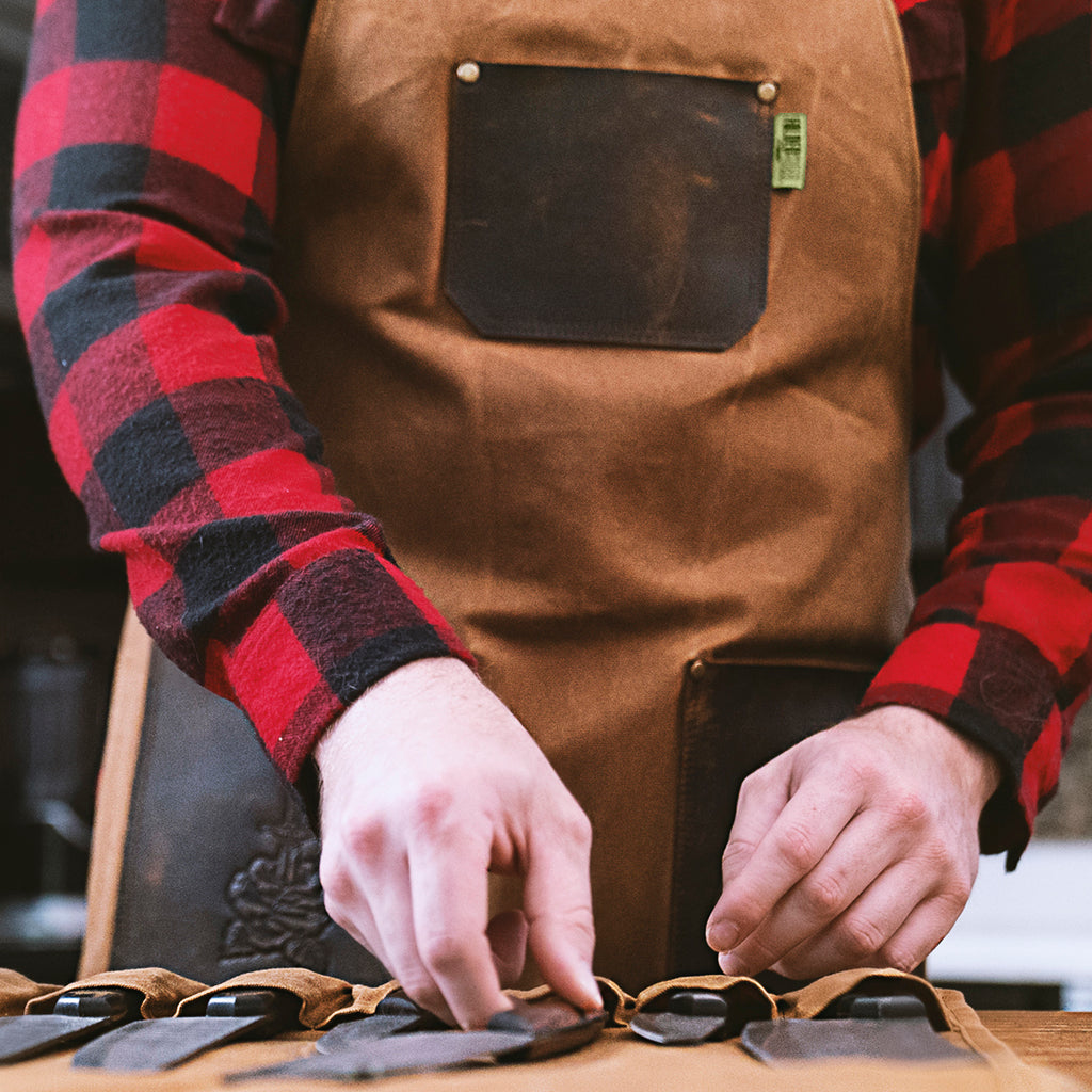 Chef Apron | Waxed Canvas + Genuine Leather - Folded Steel