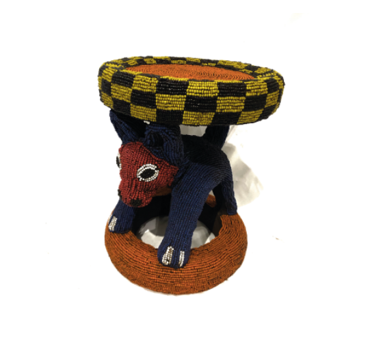 MULTI COLORS CEREMONIAL BEADED STOOL