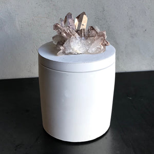 Quartz Crystal Cluster w/iron Lid Candle