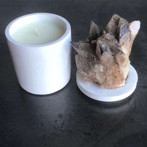 Amber Honey Calcite Lid Candle