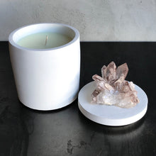 Load image into Gallery viewer, Quartz Crystal Cluster w/iron Lid Candle