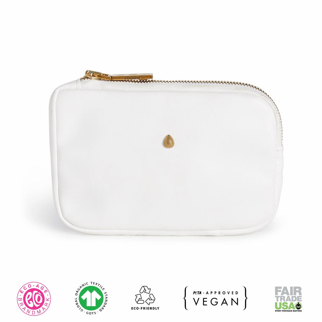 Small White Vegan Leather Zip Pouch