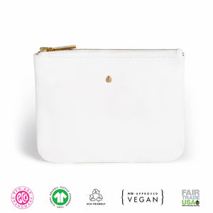 White Vegan Leather Zip Pouch