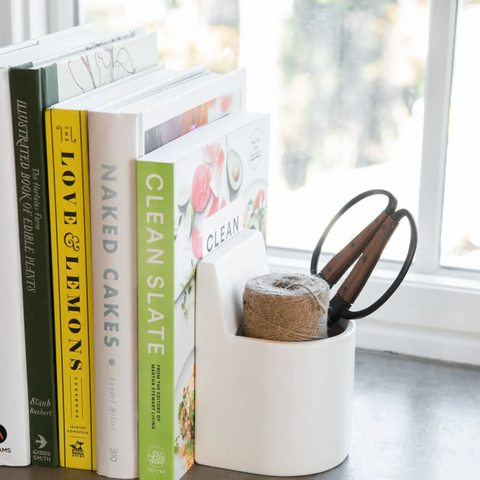 functional book ends white ceramic