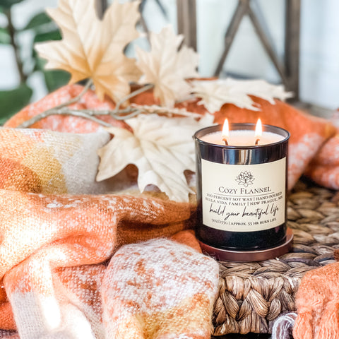 cozy flannel soy candle