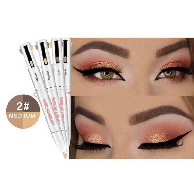 Medium Waterproof & Long Lasting 4-in-1 Brow Contour & Highlight Pen - ShopTemptation.com