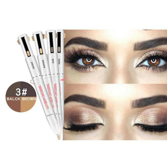 Brown/Balck Waterproof & Long Lasting 4-in-1 Brow Contour & Highlight Pen - ShopTemptation.com