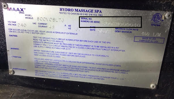 A picture of hot tub spa metal plate containing hot tub serial number and other specifications