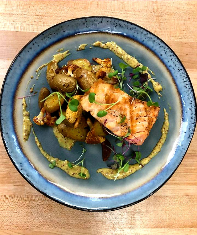Grilled Salmon, Cauliflower and whole grain mustard sauce