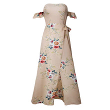 Load image into Gallery viewer, Women Fashion Summer Floral Pattern Off-the-Shoulder Strap Side Slit Long Dress - AcornIreland