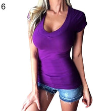 Load image into Gallery viewer, Sexy Women Casual Solid Color Deep V Neck Low Cut Short Sleeve Tee Top T-Shirt - AcornIreland