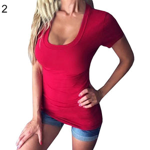 Sexy Women Casual Solid Color Deep V Neck Low Cut Short Sleeve Tee Top T-Shirt - AcornIreland