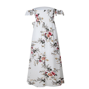 Women Fashion Summer Floral Pattern Off-the-Shoulder Strap Side Slit Long Dress - AcornIreland