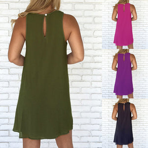 Solid Color Sleeveless Women's Summer Casual Loose Chiffon Mini Sexy Dress - AcornIreland