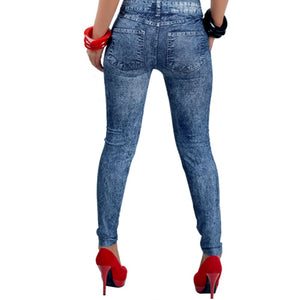 Women's Sexy Close Fitting Snowflake Printed Imitated Denim Jeans Leggings - AcornIreland