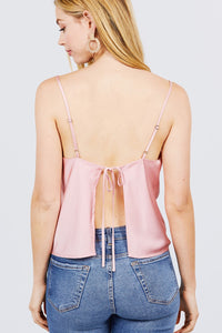 Cowl Neck W/back Open Tie Detail Cami Satin Woven Top - AcornIreland