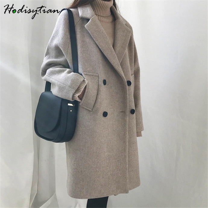 Hodisytian Winter Fashion Women Wool Blends Loose Double Breasted Coat Casual Elegant Cotton Solid Thick Femme Cashmere Overcoat - AcornIreland