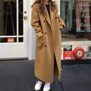 Women Autumn Winter Double Breasted Long Wool Coat Ladies Long Sleeve Notched Collar Overcoat Parka Jacket Vintage
