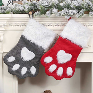 Behogar Cute Dog Claw Style Christmas Socks Xmas Stocking Gift Bag Hanging Ornaments Pendant for Home Mall Christmas Decoration
