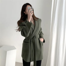 Load image into Gallery viewer, Colorfaith New 2020 Autumn Winter Women Blazers Woolen Formal Jackets Outerwear Lace Up Office Lady Wild No Quilted Tops JK1803