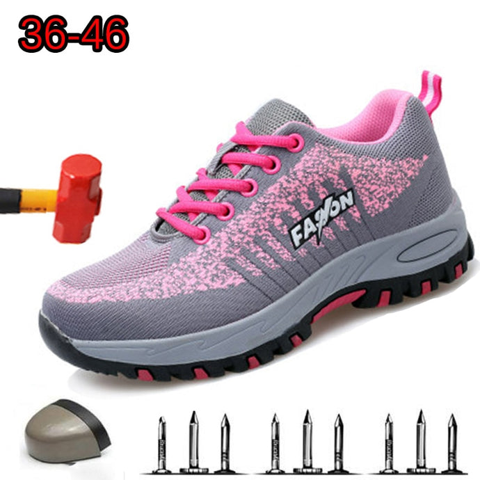 Steel Toe Work Women Work Boots For Mesh Women Lightweight Breathable Anti-smashing Non-slip Protective Safety Shoes SIZE-40 - AcornIreland
