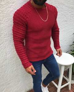 New Men's Plaid Patchwork O-Neck Sweater Tops Male Autumn Winter Sexy Slim Fit Red Black Solid Color sweaters pullovers 3XL