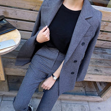 Load image into Gallery viewer, Fashion Business Pant Suits Uniform Formal Double Breasted Jacket and Long Pant Black Blazer Set Women OL 2 Two Pieces Suits