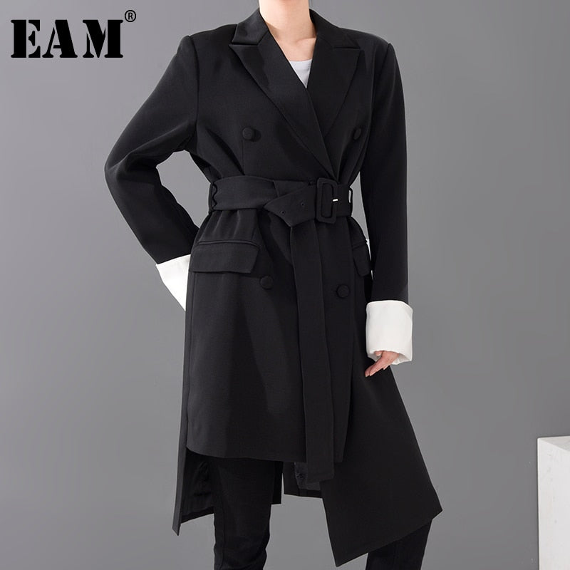 [EAM]  Women Black Irregular Big Size Long Blazer New Lapel Long Sleeve Loose Fit  Jacket Fashion Spring Autumn 2020 1S07001