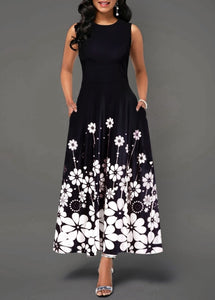 Women's Boho Floral Long Vintage Maxi Dress Evening Party Beach Tunic Sleeveless Dress Summer - AcornIreland
